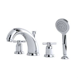 "3846 Perrin & Rowe 7"" Four Hole Bath Tap Set Crosshead"